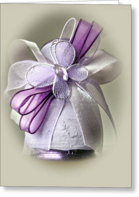 Small Vase With Butterfly And Violet Ribbons Greeting Card by Vlad Baciu