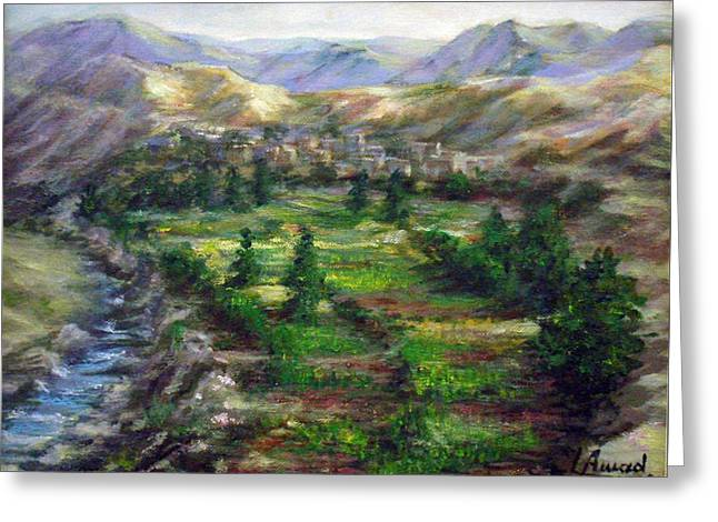 Greeting Card featuring the painting Village In The Mountain  by Laila Awad Jamaleldin