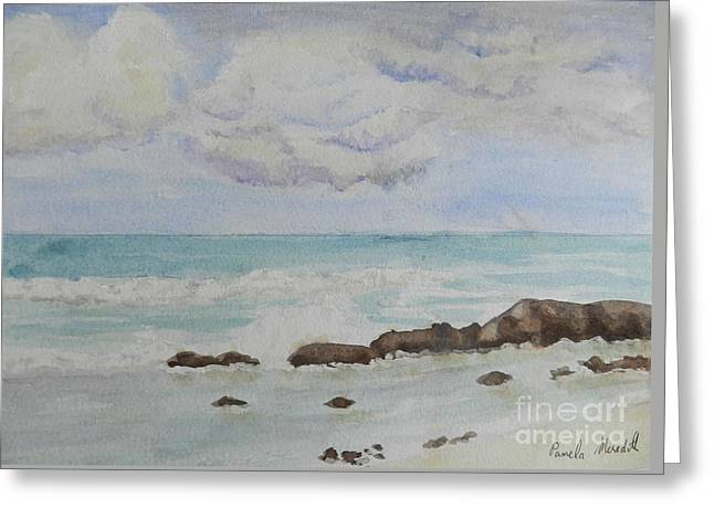 Small Waves Breaking Near Rocks Greeting Card by Pamela  Meredith