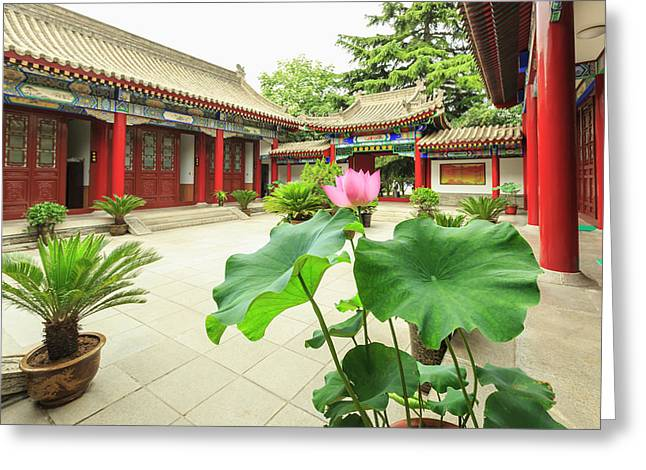 Small Wild Goose Pagoda, Jianfu Temple Greeting Card by Stuart Westmorland