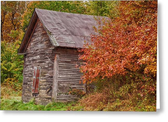 Greeting Card featuring the photograph Small Wooden Shack In The Autumn Colors by Jeff Folger
