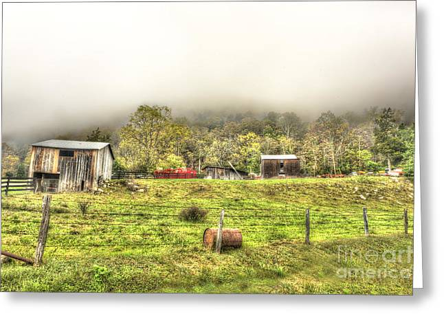 Smalll West Virginia Farm Coming Out Of Clouds Greeting Card by Dan Friend