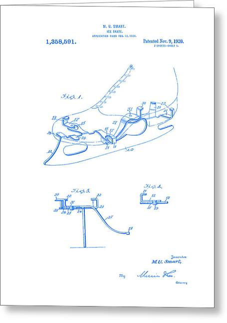 smart skate 1920 patent Blueprint  Greeting Card