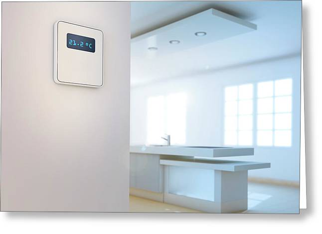 Smart Thermostat In Domestic Kitchen Greeting Card by Andrzej Wojcicki