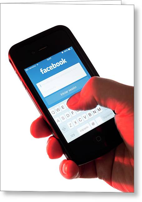 Smartphone Facebook Interface Greeting Card by Daniel Sambraus