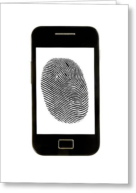 Smartphone With Finger Print Greeting Card by Victor De Schwanberg