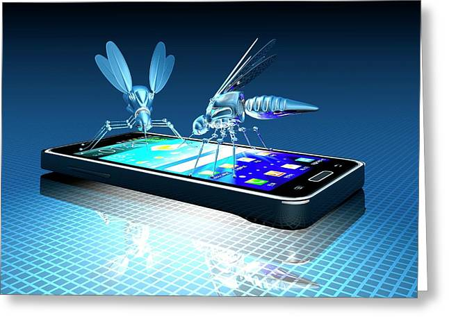 Smartphone With Nano Bugs Greeting Card by Victor Habbick Visions