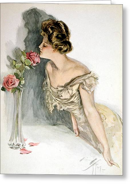Smelling The Roses Greeting Card by Harrison Fisher
