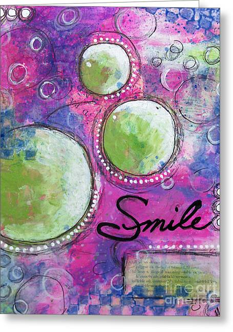 Greeting Card featuring the painting Smile by Melissa Sherbon