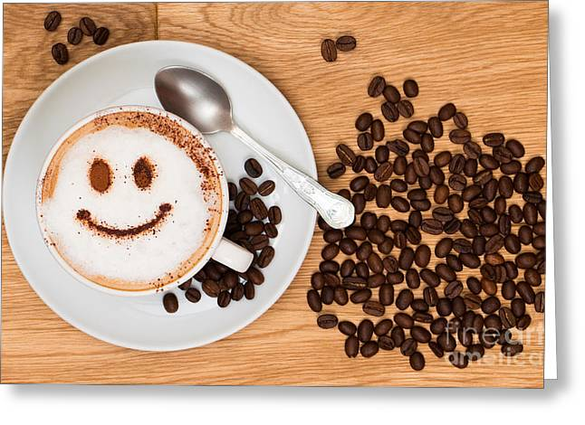Smiley Face Coffee Greeting Card by Amanda Elwell