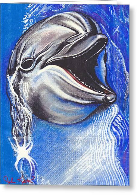 Smiling Dolphin Greeting Card by John Keaton
