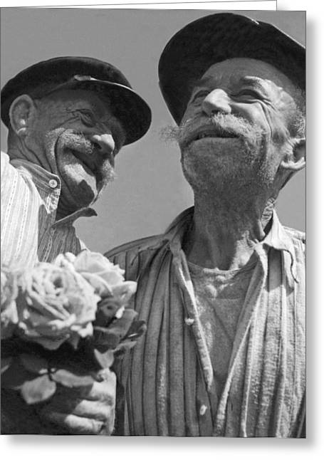 Smiling French Peasant Men Greeting Card by Underwood Archives