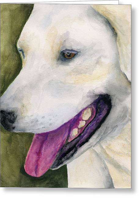 Greeting Card featuring the painting Smiling Lab by Stephen Anderson