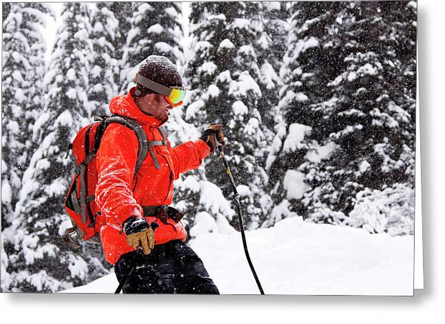 Smiling Male Skier On A Snowy Landscape Greeting Card
