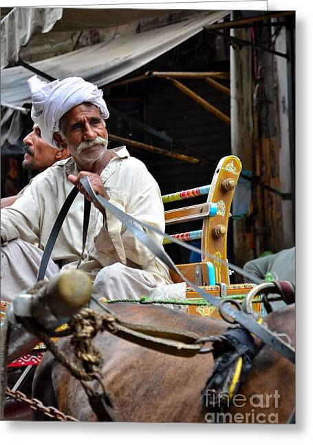 Smiling Man Drives Horse Carriage In Lahore Pakistan Greeting Card