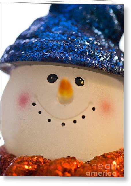Smiling Snowman Greeting Card by Birgit Tyrrell
