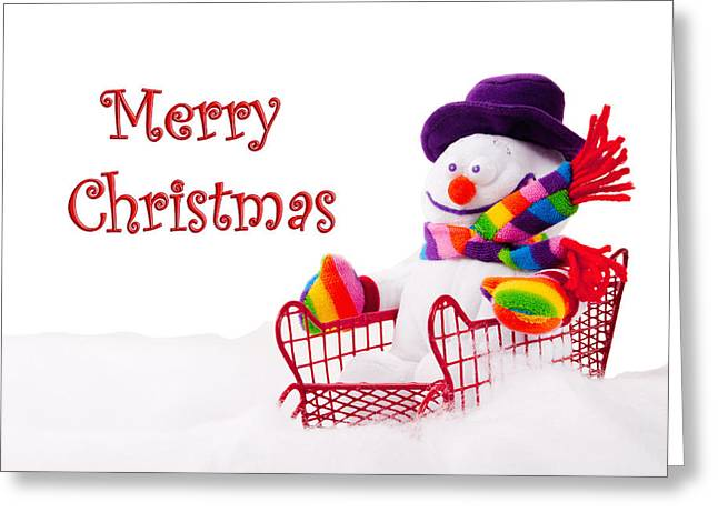 Greeting Card featuring the photograph Snowman Riding In A Red Sleigh - Christmas  by Vizual Studio