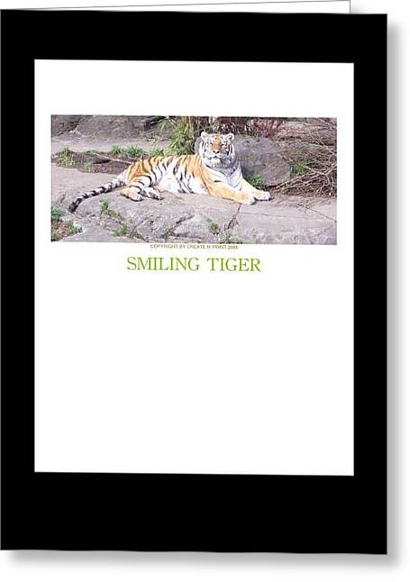 Smiling Tiger Greeting Card by For The Love Of Art