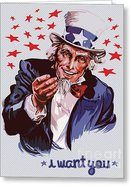 Smiling Uncle Sam Removable Text Greeting Card