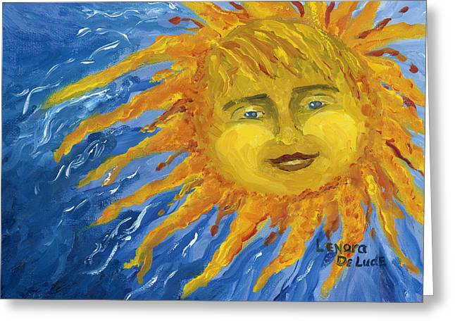 Greeting Card featuring the painting Smiling Yellow Sun In Blue Sky by Lenora  De Lude