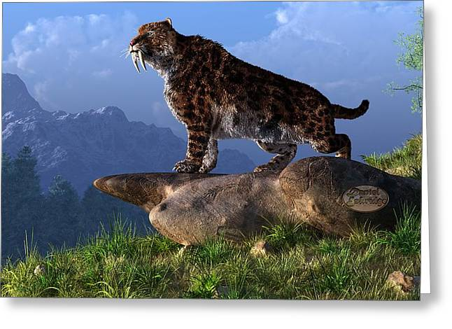 Smilodon Fatalis Greeting Card
