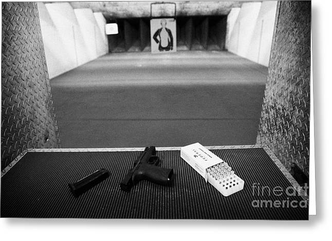 Smith And Wesson 9mm Handgun With Ammunition At A Gun Range In Florida Greeting Card by Joe Fox