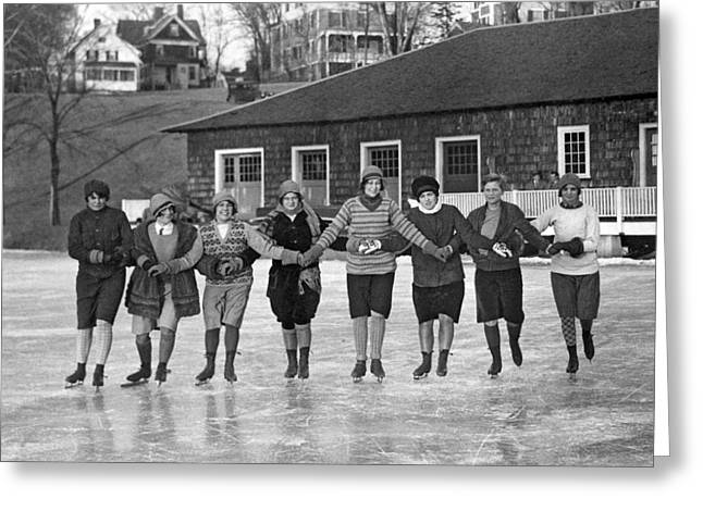 Smith Girls Skate On Paradise Pond Greeting Card