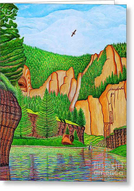 Greeting Card featuring the painting Smith River Montana by Joseph J Stevens