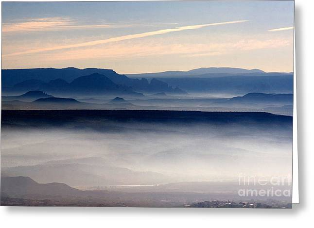 Smoke From A Forest Fire As Seen From Jerome Arizona Greeting Card