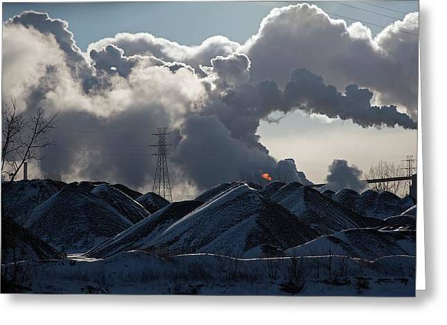 Smoke Rising From A Steel Mill Greeting Card