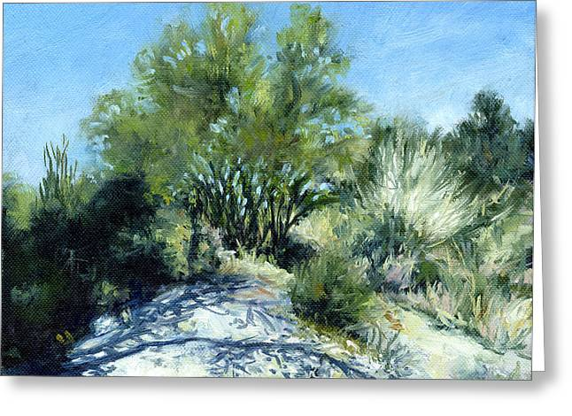 Smoke Tree Path Greeting Card by Stacy Vosberg