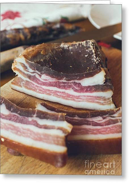 Smoked Bacon  Greeting Card by Viktor Pravdica