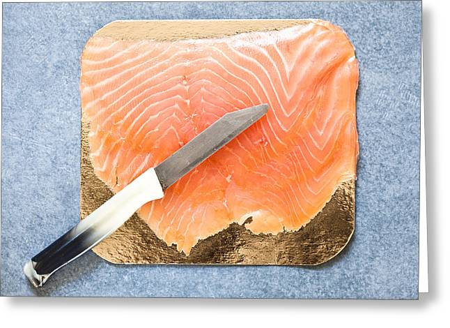 Smoked Salmon Greeting Card by Tom Gowanlock