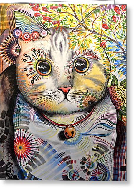 Smokey ... Abstract Cat Art Greeting Card by Amy Giacomelli