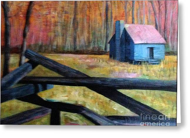 Smokey Mounain Cabin Greeting Card by Rebecca Myers