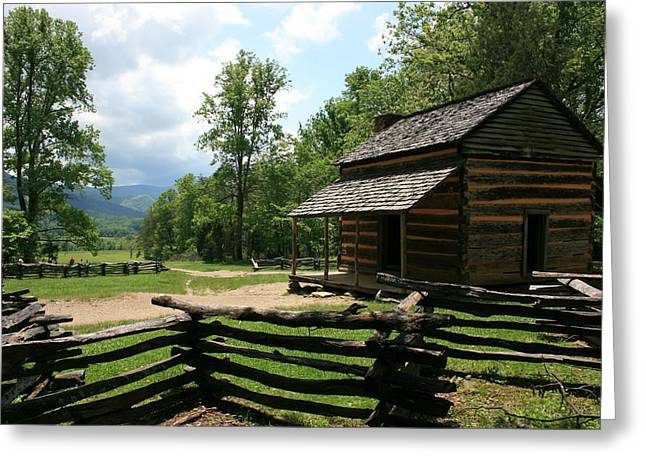 Smoky Mountain Cabin Greeting Card by Marty Fancy