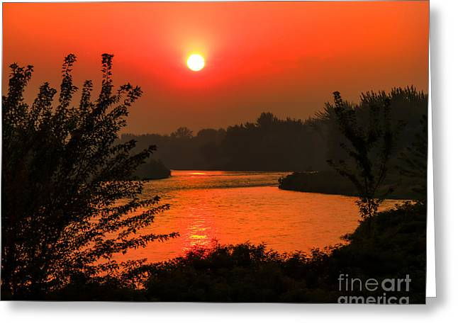 Smokey Sunrise Greeting Card by Robert Bales