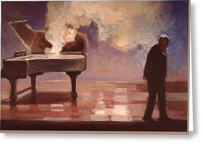 Smokin Piano Greeting Card by Emily Gibson