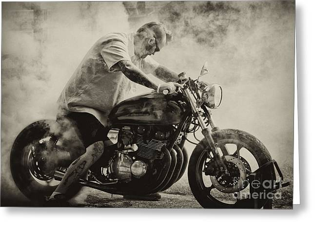Smokin Tires Greeting Card by Wilma  Birdwell