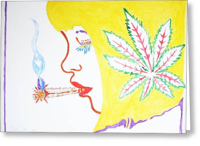Greeting Card featuring the painting Smoking Blonde by Stormm Bradshaw