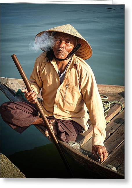 Greeting Card featuring the photograph Smoking Boat-man by Kim Andelkovic