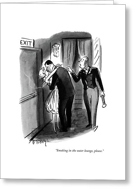Smoking In The Outer Lounge Greeting Card by Barney Tobey