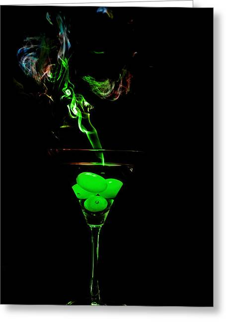 Greeting Card featuring the photograph Smoking Martini by Cecil Fuselier
