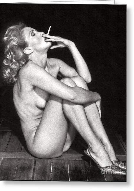 Smoking Nude  Greeting Card