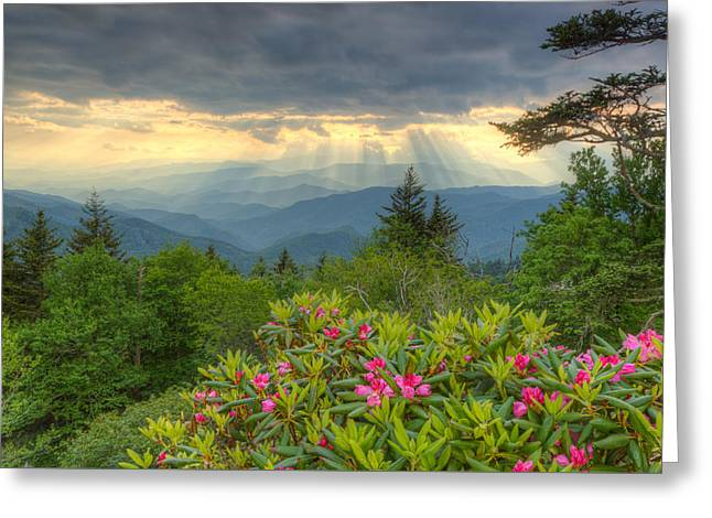 Spring Sunset - Great Smoky Mountains Greeting Card