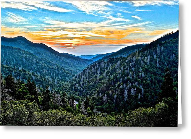 Smoky Mountain Sunset Greeting Card by Frozen in Time Fine Art Photography