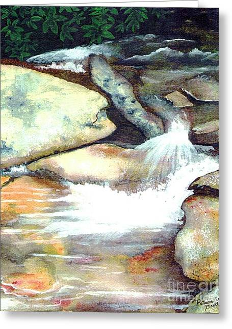 Greeting Card featuring the painting Smoky Mountains Waterfall by Patricia Griffin Brett