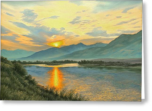 Smoky Sunrise-yellowstone River   Greeting Card by Paul Krapf