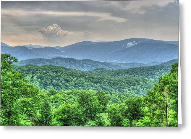 Smoky Vista Greeting Card by Mark Bowmer