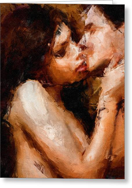 Smooch - Abstract Realism Greeting Card by Georgiana Romanovna